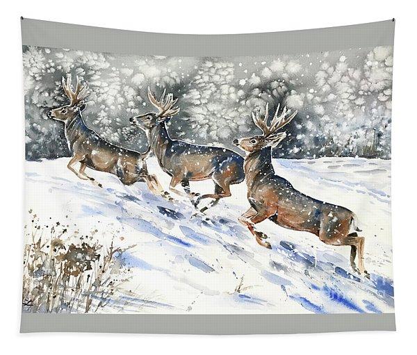 Mule Deer On The Run Tapestry