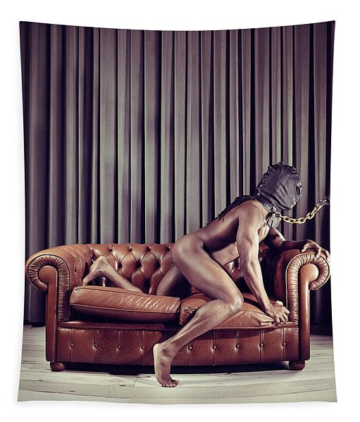 Naked Man With Mask On A Sofa Tapestry