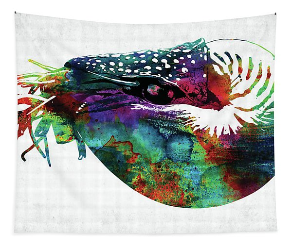 Nautilus Colorful Watercolor Art Tapestry