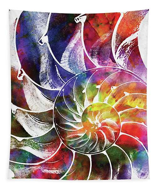 Nautilus Shell Colorful Watercolor 2 Tapestry