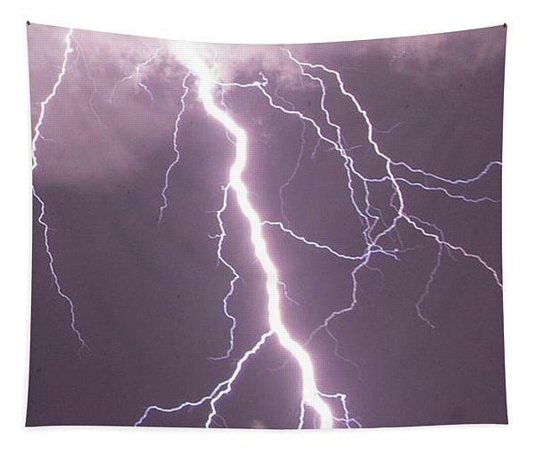 Tapestry featuring the photograph Nebraska Arcus And Lightning 046 by NebraskaSC