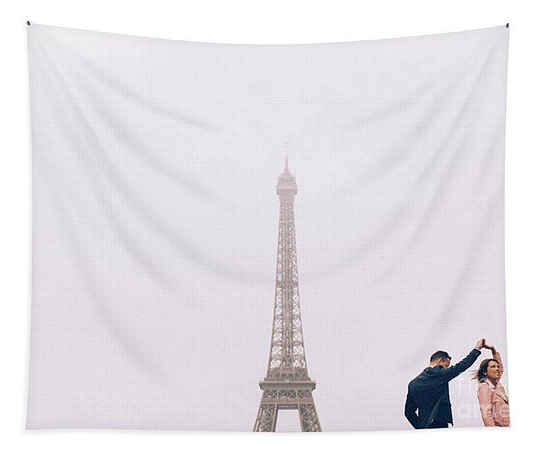 Newly-wed Couple On Their Honeymoon In Paris, Loving Having A Date Near The Eiffel Tower Tapestry