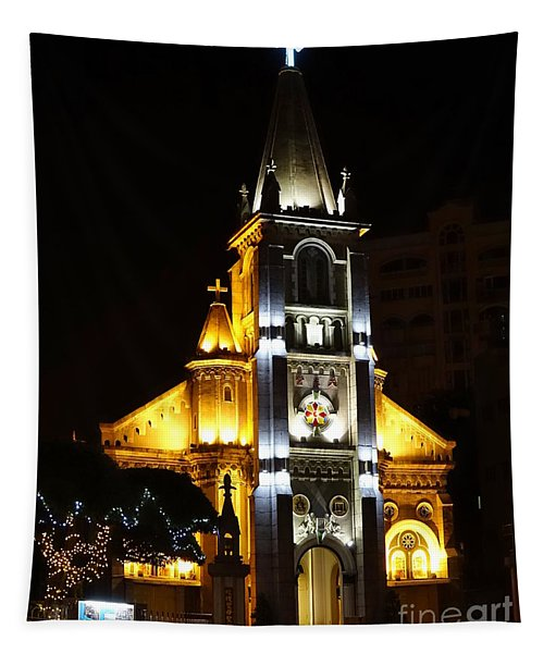 Night View Of The Holy Rosary Cathedral Tapestry