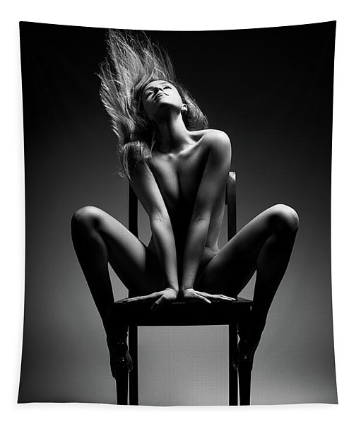 Nude Woman Sitting On Chair Tapestry