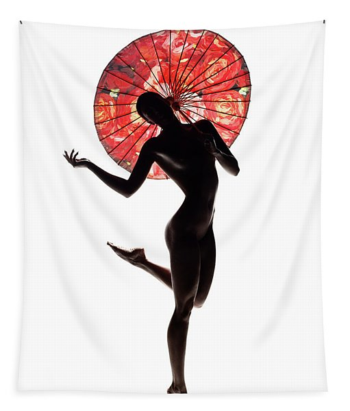 Nude Woman With Red Parasol Tapestry