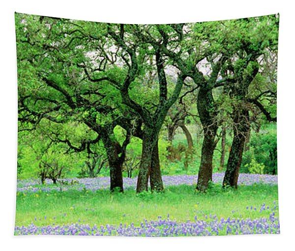 Oak Trees In Lupine Flowers Field Tapestry