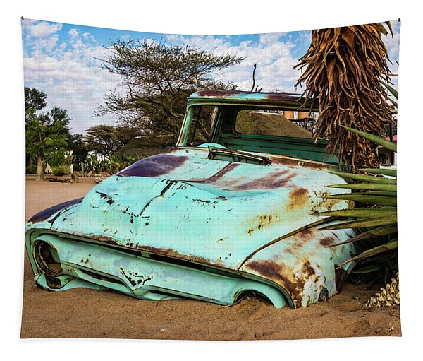 Old And Abandoned Car 2 In Solitaire, Namibia Tapestry