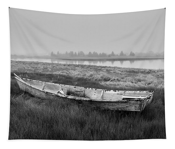 Old Boat In Tidal Marsh Tapestry