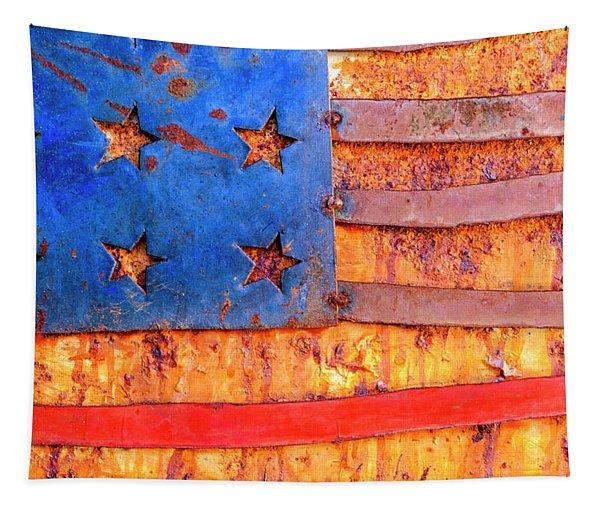 Painted Us Flag, Georgia, Usa Tapestry