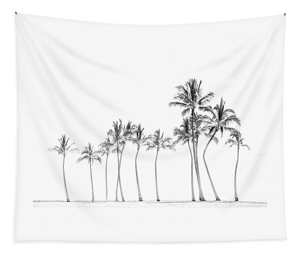 Palm Tree Horizon In Black And White Tapestry