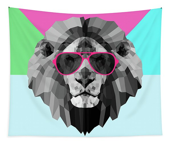 Party Lion In Red Glasses Tapestry
