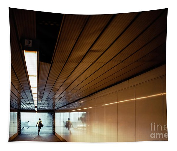 Passengers In A Hurry At The End Of A Tunnel At The Entrance To The Metro Station. Tapestry