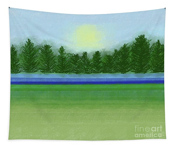 Peaceful Field With River And Trees Landscape Tapestry