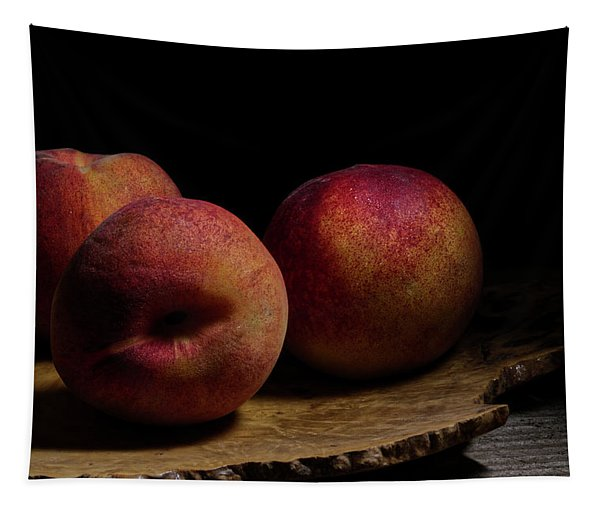 Peaches On Wood Plate Tapestry