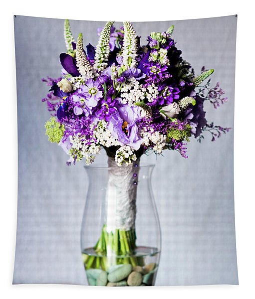 Perfect Bridal Bouquet For Colorful Wedding Day With Natural Flowers. Tapestry