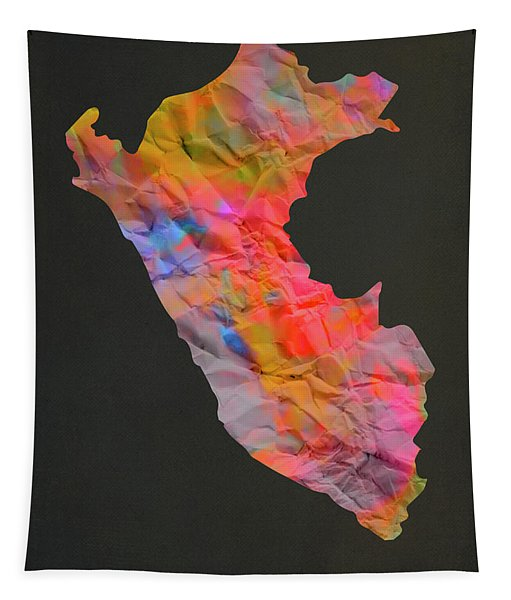 Peru Tie Dye Country Map Tapestry