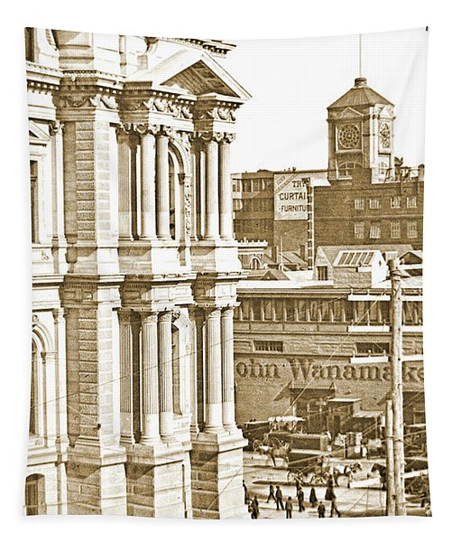 Philadelphia City Hall And Wanamaker Store C 1900 Vintage Photog Tapestry