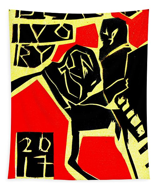Piano Player Black Ivory Woodcut Poster 31 Tapestry