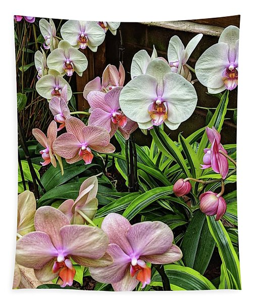 Pink And  White Orchids Tapestry