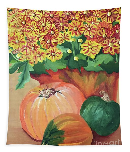 Pumpkin With Flowers Tapestry