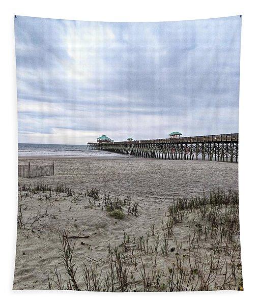 Rainy Beach Day Tapestry