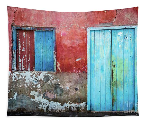 Red, Blue And Grey Wall, Door And Window Tapestry