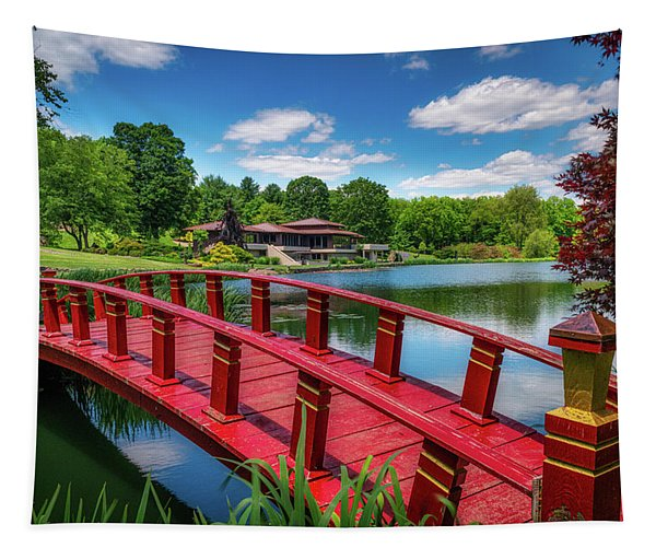 Red Bridge At The Lake House Tapestry
