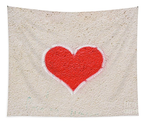 Red Heart Painted On A Wall, Message Of Love. Tapestry