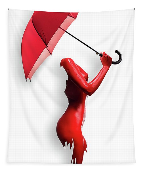 Red Painted Body With Umbrella Tapestry
