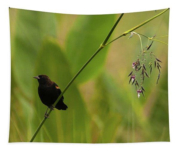 Red-winged Blackbird On Alligator Flag Tapestry