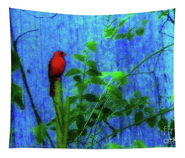 Redbird Enjoying The Clarity Of A Blue And Green Moment Tapestry