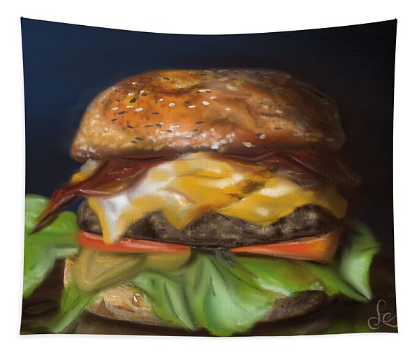 Tapestry featuring the pastel Renaissance Burger  by Fe Jones
