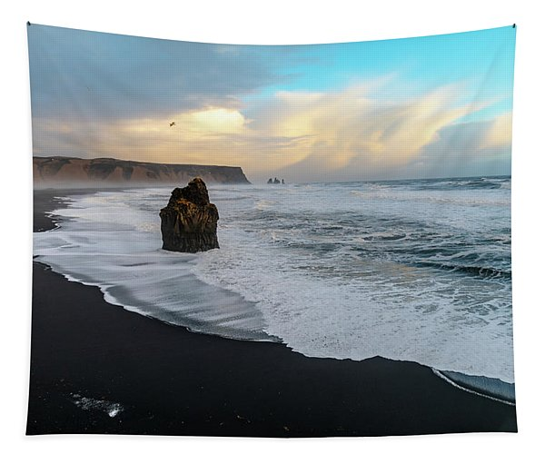 Reynisfjara Beach At Sunset Tapestry