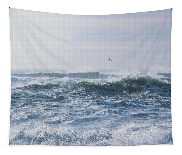 Reynisfjara Seagull Over Crashing Waves Tapestry