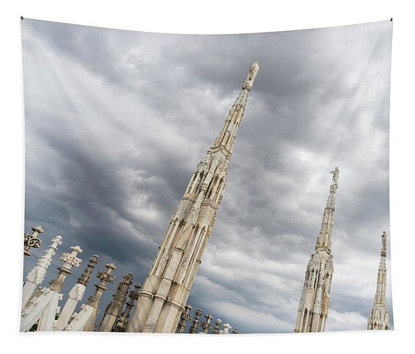 Rough Sky And Airy Spires - Milans Cathedral Duomo Di Milano Tapestry