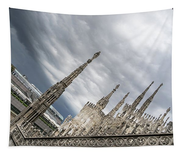 Rough Sky Over Milans Cathedral Duomo Di Milano Tapestry