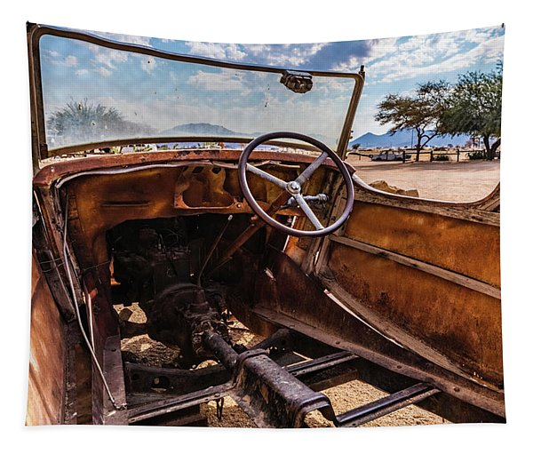 Rusty Car Leftovers Tapestry