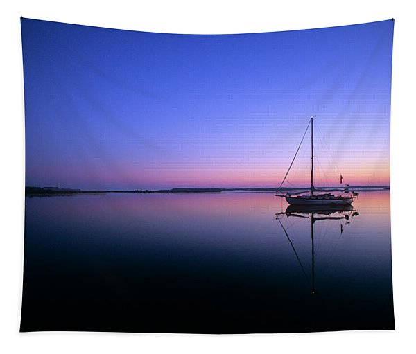 Sailboat At Dawn On Calm Water Campbell Tapestry