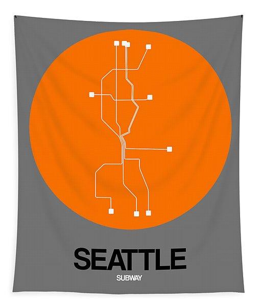 Seattle Orange Subway Map Tapestry