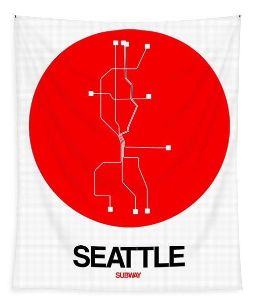 Seattle Red Subway Map Tapestry