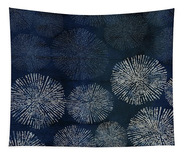 Shibori Sea Urchin Burst Pattern Dark Denim Tapestry