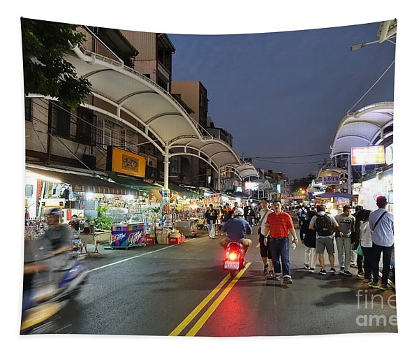 Shopping And Restaurant Street In Taiwan Tapestry
