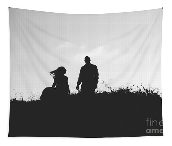 Silhouette Of Couple In Love With Wedding Couple On Top Of A Hil Tapestry