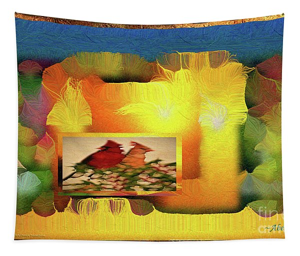 Silk-featherbrush Number 2 - Two Redbirds Of A Feather Cozy Together  Tapestry
