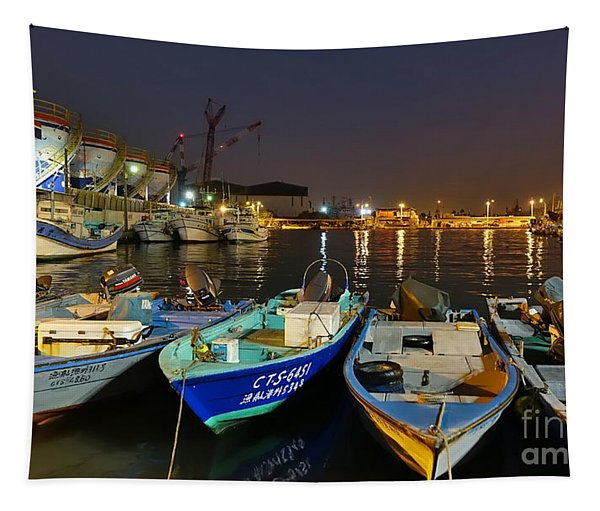Small Fishing Harbor By Night In Taiwan Tapestry