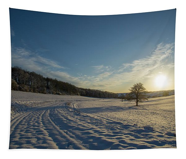 Snow And Sunset Tapestry