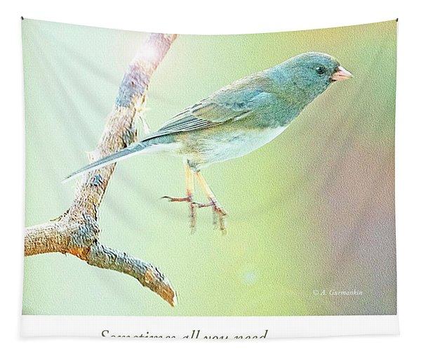 Snowbird Jumps From Tree Branch Tapestry
