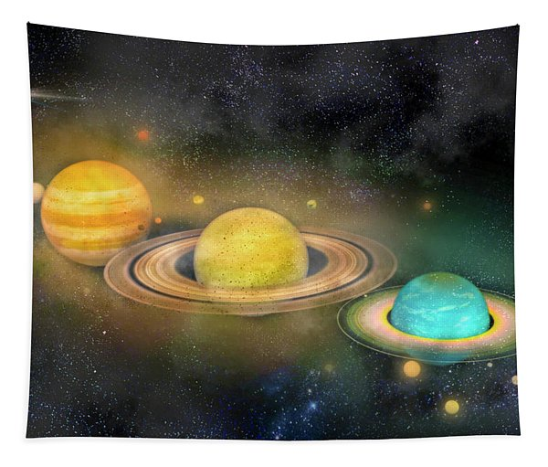 Solar System And Moons Tapestry