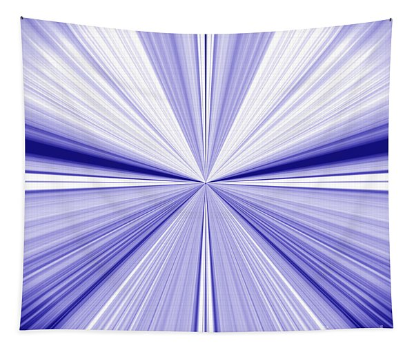 Starburst Light Beams In Blue And White Abstract Design - Plb455 Tapestry