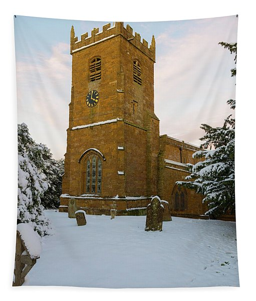 Stone Church In The Snow At Sunset Tapestry